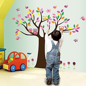 Decal dán tường cây hạnh phúc đầy màu sắc vui tươi