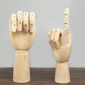 2x Wooden Jointed Mannequin Hands Sculpture Children Right Hand Model Sketching Drawing Hand