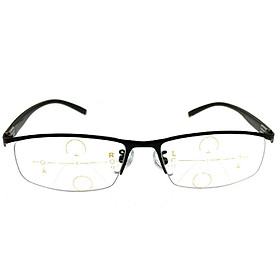 Bai Shangyi special metal half frame progressive multi-focus automatic zoom reading glasses far and near dual-purpose unisex aspheric resin HD lens 250 degrees