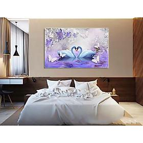 Tranh treo tường - tranh treo phòng ngủ Thiên Nga N07 /Gỗ MDF cao cấp phủ kim sa/ Chống ẩm mốc, mối mọt/Bo viền góc tròn