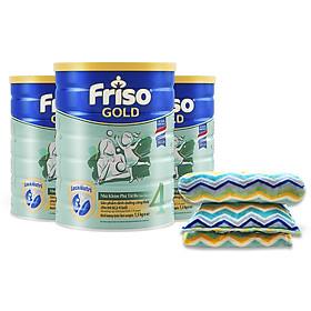 Bộ 3 Lon Sữa Bột Friso Gold 4 Cho Trẻ Từ 2-4 Tuổi 1.5kg + Tặng bộ mền gối Little Footprints (Mỹ)
