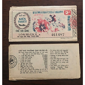 Tờ vé số bao cấp tỉnh Tiền Giang 198x, phong thủy sưu tầm
