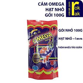 Cám Omega hạt nhỏ gói 100g Thức ăn cho cá cành cao cấp- Cá ham ăn, mau lên màu, mập ú, màu sắc đẹp, không gây đục nước