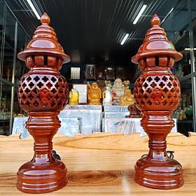 Cặp đèn thờ gỗ tràm bông vàng cao 34 cm