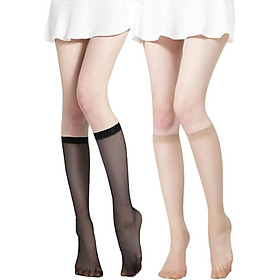 Langsha tube stockings female short section ultra-thin anti-hook meat flesh half invisible calf long socks black 10 double code
