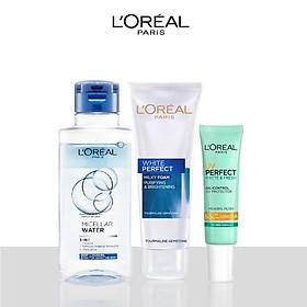 Bộ làm sạch và chống nắng dưỡng da L'Oreal Paris (MCL 95ml,SRM 50ml,UV 15ml)