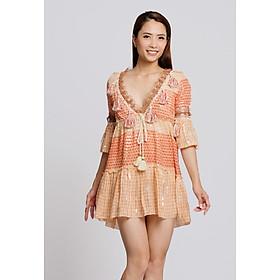 Đầm Boho Cổ V Phối Ren Savage Culture SC38722-OR