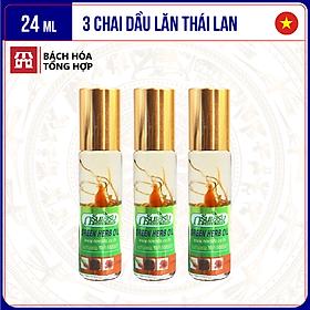 [24ml] Bộ 3 chai dầu lăn sâm thảo dược Greenskin Green Herb Oil | Chai 8ml
