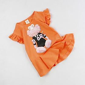Đầm thun cam cánh tiên in gấu bông cho bé gái 0.5-3 tuổi từ 8 đến 16 kg 02154