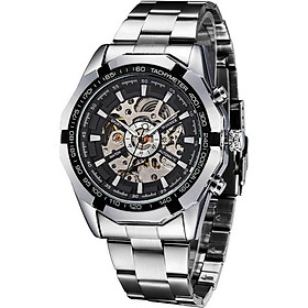 WINNER Fashion Semi-Automatic Mechanical Watch Waterproof Skeleton See-through Dial Hand-winding Top Luxury Brand Men