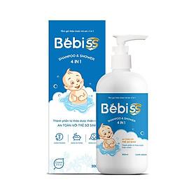 TẮM GỘI THẢO DƯỢC TRẺ EM 4 IN 1 BEBISS - Hỗ trợ kháng khuẩn, phòng chống rôm sảy, mụn nhọt, kê sữa, chàm sữa, hăm tã - Chai 300ml