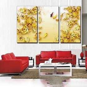 Tranh Canvas treo tường nghệ thuật | Bộ 3 bức chữ nhật| HLB_079