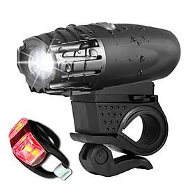 Combo Đèn pin xe đạp chống nước cao cấp + đèn hậu xe đạp