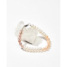Vòng tay ngọc trai nuôi thiên nhiên trắng hồng tía phải nữ khoá bạc 925 dành cho nữ - Cami.J
