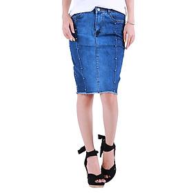 Chân Váy Jean Nữ Body Đính Hạt Ngang Gối Xinh Yêu CV001 Miha Fashion - Xanh