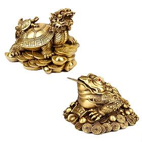 Bộ linh vật trên ban thờ thần tài cóc thiềm thừ rùa đầu rồng long quy bằng đồng thau cỡ nhỏ phong thủy Hồng Thắng