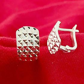 Bông tai nữ Bạc Quang Thản kiểu khuyên vành đeo sát tai bản cong mặt phay hoa văn sáng bóng chất liệu bạc ta không xi mạ - QTBT57