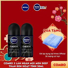 Combo 2 Lăn Ngăn Mùi NIVEA MEN DEEP Than Đen Hoạt Tính 50ml - 80031