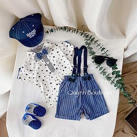 Quần áo trẻ em QUYNH BOUTIQUE Set yếm họa tiết ngôi sao quần xanh