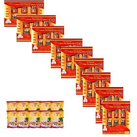 YẾN SÀO CUNG ĐÌNH-Bộ 9 hộp nước yến đường phèn (tổ yến15%) tặng 10 gói cháo yến thịt bằm