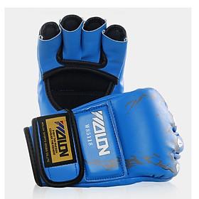 Găng tay đấm MMA wolon - xanh
