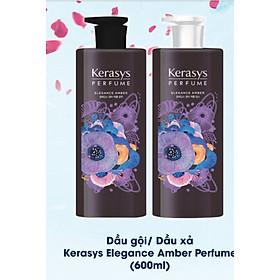 Cặp gội xả nước hoa hương Violet tím và hoa diên vỹ Kerasys Elegance Amber Hàn Quốc 600ml tặng kèm móc khóa-4