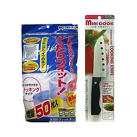 Hình đại diện sản phẩm Combo Set 50 Túi Lưới Lọc Rác Sạch Sẽ Bồn Rửa Chén + Dao Inox Có Lỗ Giảm Ma Sát Sắc Bén - Nội Địa Nhật Bản