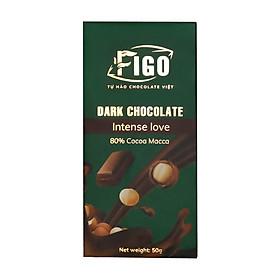 Socola đen 80% cacao Hạt Macca giảm cân 50gram Figo - Vietnamese Chocolate
