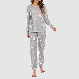 Women 2 Piece Set Star Print T-shirt Long Pants O-Neck Long Sleeve Tops Pullover Casual Pajama Home Wear