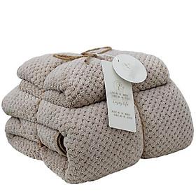 Set 2 Khăn tắm 35x75.75g+70x140.380g,siêu thấm chất liệu 100 cotton-206