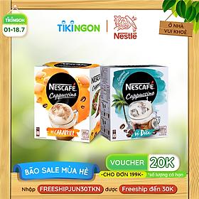 [Chỉ Giao HCM] Combo 2 cà phê hòa tan Nescafe Cappuccino: 1 vị dừa (hộp 10 gói x 20g) + 1 vị caramel (hộp 10 gói x 20g)