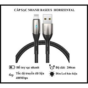 Cáp Sạc Nhanh Baseus Horizontal Data Cable 200cm  - Dùng Cho iPhone iPad - Trang Bị Đèn Led - Công Nghệ Chống Đứt Gãy SR - Hàng Chính Hãng
