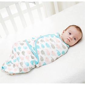 Túi ngủ cho em bé, chăn quấn em bé, ủ kén cotton cho bé họa tiết ngẫu nhiên - Tặng kèm 01 vòng dâu tằm và 01 khăn voan trùm mặt cho bé khi đi ra ngoài