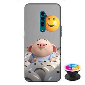 Ốp lưng điện thoại Oppo Reno 10X Zoom hình Heo Con Thả Bong Bóng tặng kèm giá đỡ điện thoại iCase xinh xắn - Hàng chính hãng