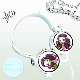 Tai nghe chụp in hình Nezuko Demon Slayer - Thanh Gươm Diệt Quỷ anime chibi cắm dây có mic
