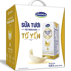 Thùng 24 Hộp Sữa Tươi Tiệt Trùng Chứa Tổ Yến Vinamilk 180ml