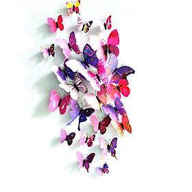 2 Bộ 24 miếng dán 3D một lớp bướm để trang trí văn phòng nhà