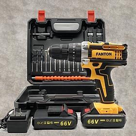 Bộ máy khoan pin FANTON 66V khoan tường, khoan sắt, khoan bê tông máy 2 pin, đảo chiều và mũi khoan