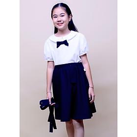Áo sơ mi đồng phục học sinh nữ tay viền, cổ tròn, có nơ ngực, chất liệu cotton Nhật rất mát DPG008