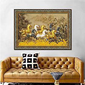 Tranh treo tường trang trí phòng khách, phòng ngủ, phòng ăn Mã Đáo Thành Công - Bát mã truy phong: 1308L8