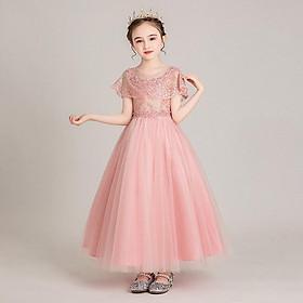 Váy công chúa bé gái hồng choàng vai DBG034