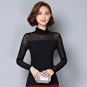 Áo lưới ren mỏng Slim dài tay hoa hàng đầu cotton đáy quần áo thun nữ