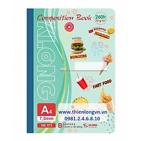 Sổ may dán gáy A4 - 260 trang; Klong 973 bìa xanh