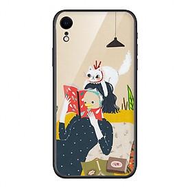 Ốp lưng KÍNH CƯỜNG LỰC VIỀN ĐEN cho iPhone XR RELAX GIRL - Hàng chính hãng