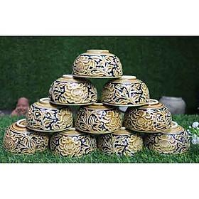 Bát ăn cơm khắc hoa phù dung nổi