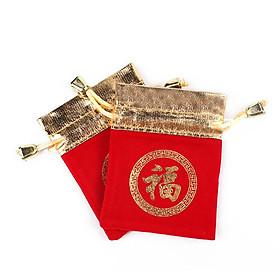 Combo 5 túi gấm đỏ hoa văn ấn tròn in chữ Phúc phong thủy tài lộc- PCCB MINGT