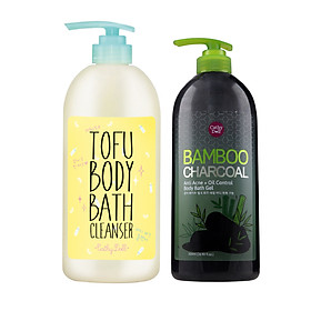 Bộ Sản Phẩm Sữa Tắm Cathy Doll White Tofu Body Bath Cleanser 750ml Và Cathy Doll Bamboo Charcoal Anti Acne+Oil Control Body Bath Gel 500ml