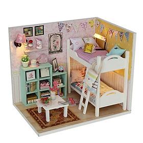 Nhà búp bê lắp ghép - Mô hình nhà búp bê cho bé+ Tặng kèm hình dán