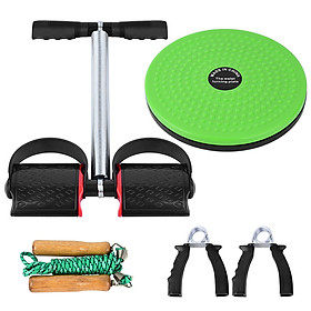 5 PCS Fitness Set with Spring Pedal Puller Waist Twist Board Hand Grip Adjustable Jump Rope for Home Office Gym-0