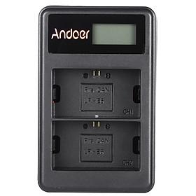 Ổ Sạc Pin LP-E6 Màn Hình LCD Dây USB Andoer Cho Máy Ảnh Canon EOS 6D 7D 70D 60D 5D Mark III Mark II (2 Khe)